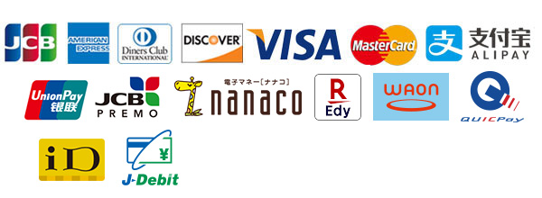 JCB、American Express、Diners Club、Discover、VISA、Mastercard、ALIPAY、銀聯カード